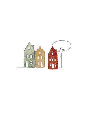 Kaart A6 3 huisjes